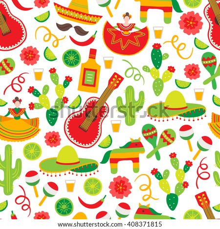 Cinco de Mayo (Fifth of May) seamless pattern with dancing woman, tequila bottle, cactus, flower, serpentine, sombrero, guitar, lime, chili pepper. Perfect for wallpaper, Mexican greeting cards.  - stock vector