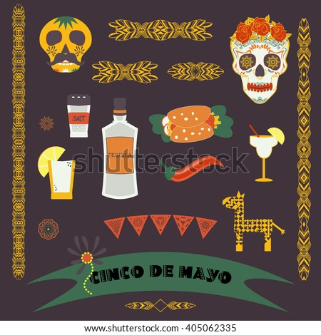Cinco de Mayo (fifth of May). Vector illustration with traditional Mexican symbols, national elements - tequila, taco, skull, borders, banner. Travel to Mexico icons for cards and web pages. Isolated. - stock vector