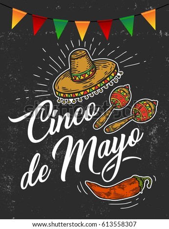 Cinco de mayo hand sketched logotype stock photo photo vector cinco de mayo hand sketched logotype badge typography icon lettering mexican holiday with hat m4hsunfo Image collections