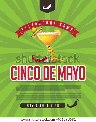 Cinco De Mayo menu, Cinco de Mayo poster, invitation, web page. Advertising background template for Cinco de Mayo party or fiesta with copy space. EPS 10 vector royalty free stock illustration - stock vector