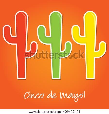 Cinco de Mayo paper cut out card in vector format. - stock vector