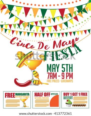 Cinco de Mayo sale bunting and coupon marketing template. EPS 10 vector. - stock vector