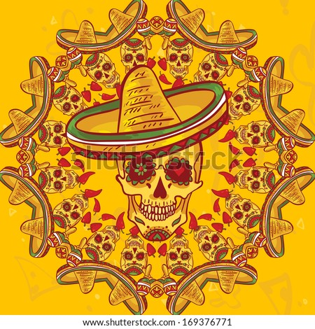 Cinco de Mayo Seamless Pattern  Skull and sombrero Day of The Dead