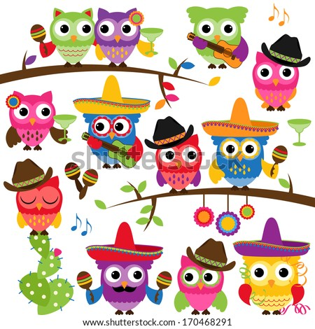Cinco de Mayo Themed Collection of Owls and Branches  - stock vector