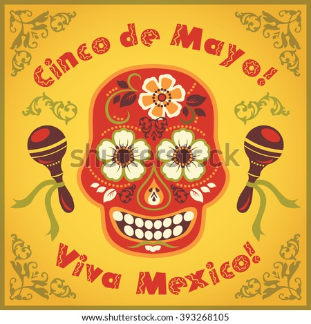 Cinco de Mayo. Vector illustration with traditional Mexican symbols. - stock vector