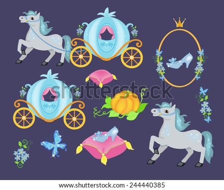 Cinderella vector illustration set - stock vector