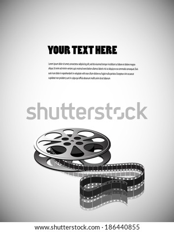 cine-film on a gray background with space for your text - stock vector