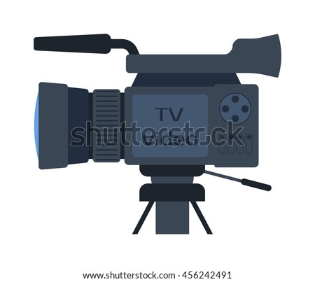 Cinema and video cameras isolated Camera movie making film creating isolated symbol digital equipment. New movie technology camera set vintage element sign film - stock vector