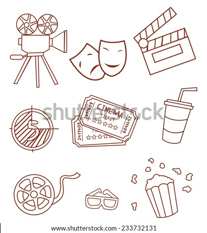 Cinema Attribute Hand Drawn Sketch Doodle - stock vector