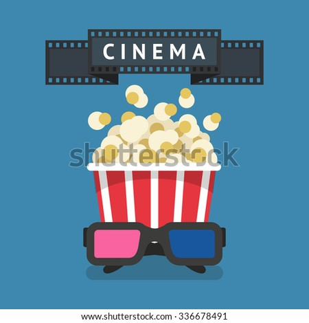 Cinema attributes: Film strip, bowl of pop corn and 3D glasses - stock vector