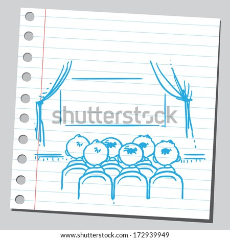 Cinema audience back view - stock vector