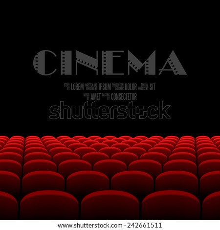 Cinema auditorium with black screen and red seats. Vector. - stock vector
