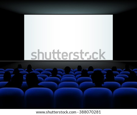 Cinema auditorium with blue seats, people silhouettes and blank screen - vector illustration - stock vector