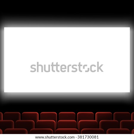 Cinema auditorium with red chairs and white screen. Stock vector illustration.