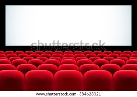 Cinema auditorium with rows of red seats and blank screen for your text - vector illustration