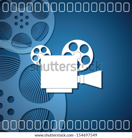 Cinema background with a camera film - stock vector