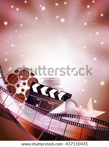 cinema background with clapper, star, film reels and strips. vector illustration