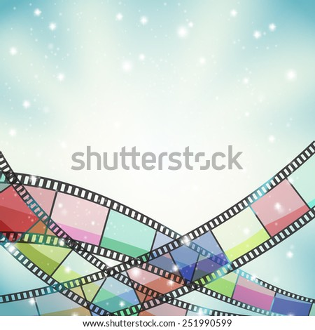 cinema background with color film strip and stars - stock vector