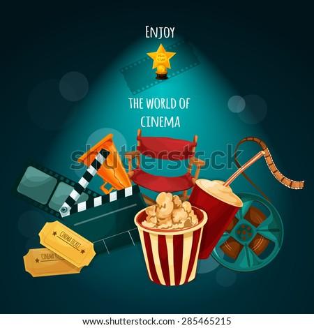 Cinema background with film director chair actor award movie tickets cartoon vector illustration - stock vector