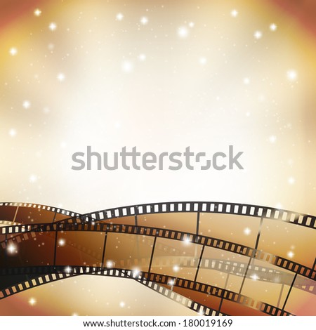 cinema background with retro filmstrip and stars - stock vector