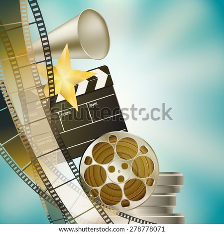 cinema blue background with retro filmstrip, clapper and stars left vertical border - stock vector
