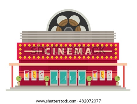 Cinema Building Flat Style Movie Theater Stock Vector