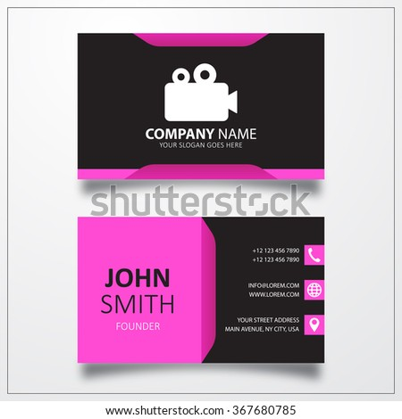 Cinema camera, film sign icon. Business card vector template. - stock vector