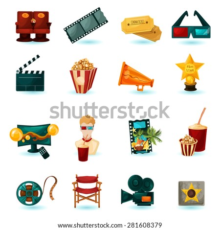 Cinema cartoon icons set with 3d glasses film reel popcorn isolated vector illustration - stock vector