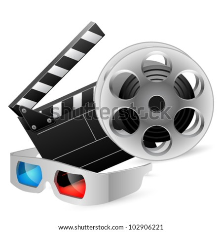 Cinema clap and film reel with anaglyph glasses. Vector illustration