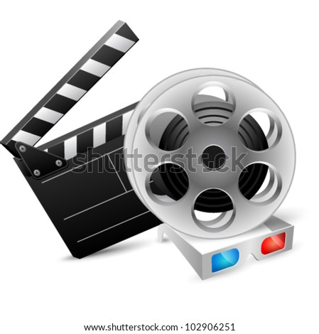 Cinema clap and film reel with anaglyph glasses. Vector illustration - stock vector