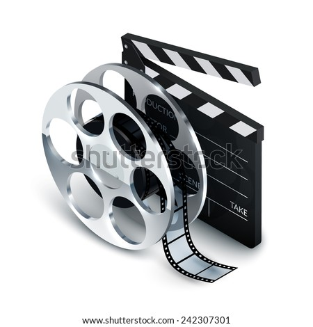 Cinema concept realistic with clapboard and film reel 3d vector illustration - stock vector