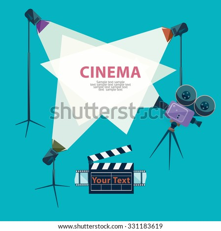 Cinema concept with spotlight and camera - stock vector