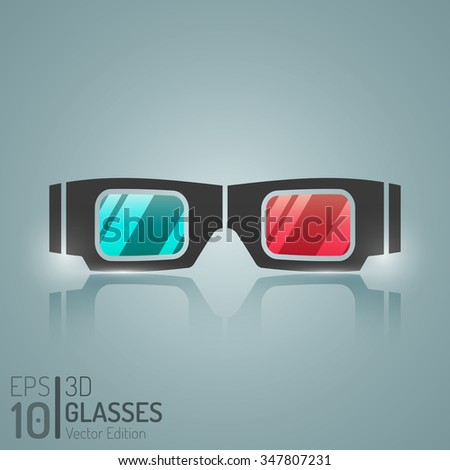 Cinema 3D Glasses Design. Vector Elements. Creative 3D Glasses Illustration. EPS10 - stock vector