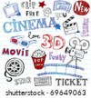 Cinema Doodles,   set of vector hand-drawn icons - stock photo