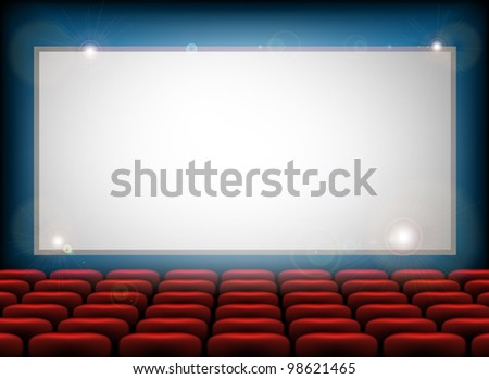 Cinema empty screen with space for your text here - stock vector