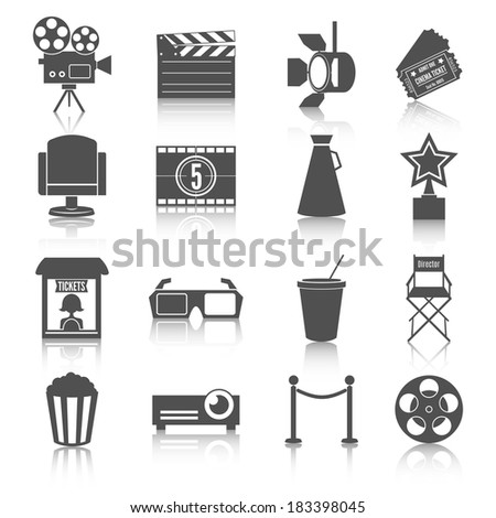 Cinema entertainment icons set of film popcorn movie tickets theatre chairs and projector lamp vector illustration - stock vector