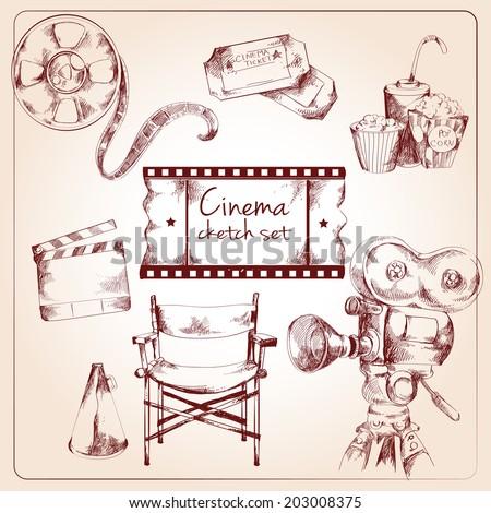 Cinema entertainment media sketch elements of tickets camera popcorn vector illustration - stock vector