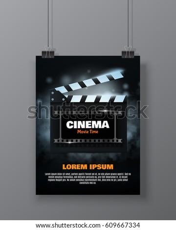 Cinema Festival Flyer Poster Movie Reel Stock-Vektorgrafik 609667334 ...