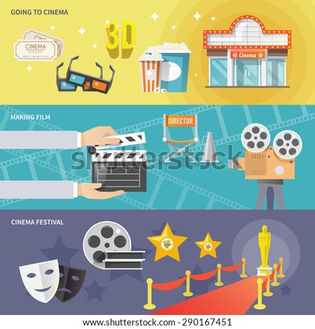 Cinema festival movie theater tickets set and prize winning film production horizontal banners abstract flat vector illustration - stock vector