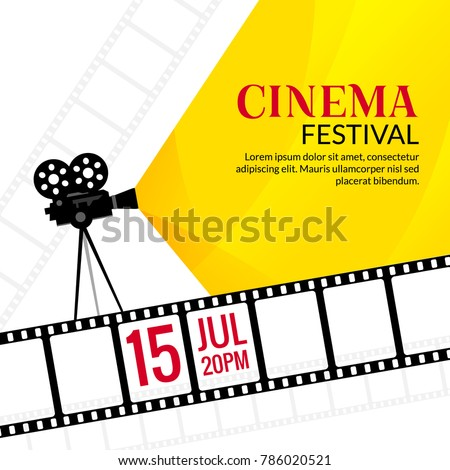 Cinema Festival Poster Template Vector Camcorder And Line Videotape Illustration Movie Art Background