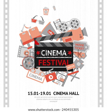 Cinema festival poster with filmmaking business and entertainment equipment vector illustration - stock vector