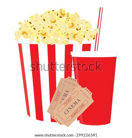 Cinema food with salt popcorn, disposable cola cup with straw and tickets. Set of movie design elements and cinema icons. - stock vector