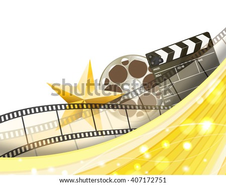 cinema golden border background with retro filmstrip, clapper and star