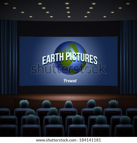 cinema hall, wood podium, blue chairs, blue curtain and wide screen with sign coming soon. Realistic vector illustration. - stock vector