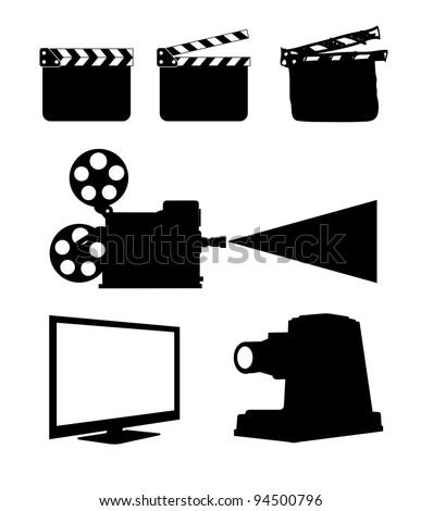 Cinema Icon Set on white - stock vector