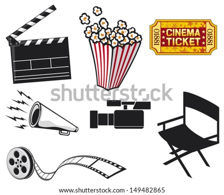 cinema icons (cinema projector and film strip, popcorn in a striped tub, cinema clapboard, movie clapper board, video camera, cinema ticket, movie director chair) - stock vector