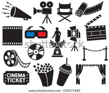 cinema icons collection (film strip, popcorn, cinema clapboard, movie camera, cinema ticket, movie director chair, dvd, cd, camera film roll, stage projector, movie award, 3D glasses, film reel)   - stock vector