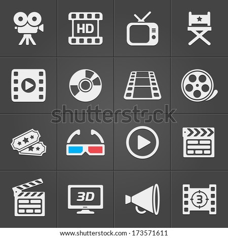 Cinema icons on black background. Vector illustration - stock vector