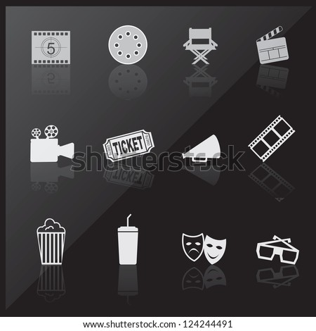 Cinema icons over black background vector illustration - stock vector