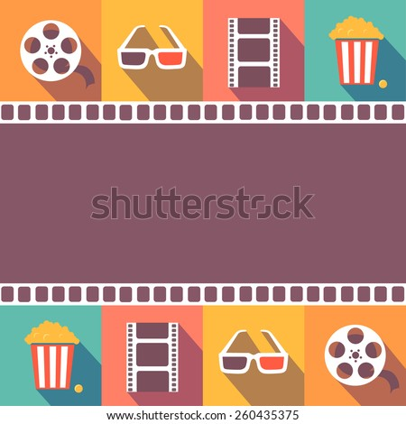 Cinema icons set. Flat style signs, vector illustration - stock vector